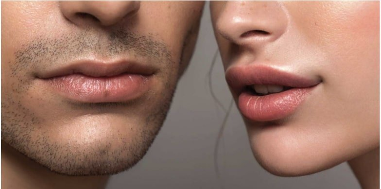 Picture of both male's and female's lips